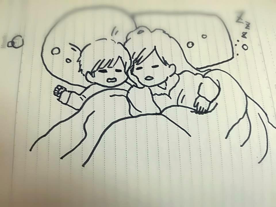 寄り添って眠る姉弟が可愛すぎる